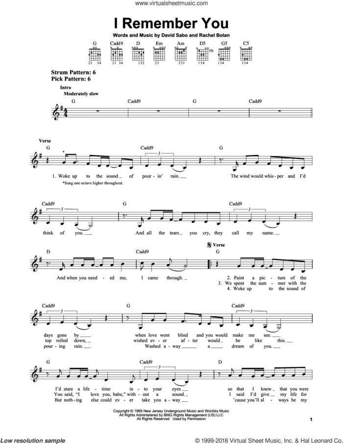 I Remember You sheet music for guitar solo (chords) by Skid Row, David Sabo and Rachel Bolan, easy guitar (chords)