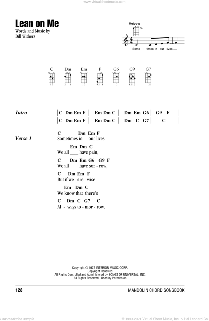 Lean On Me sheet music for mandolin (chords only) by Bill Withers, intermediate skill level