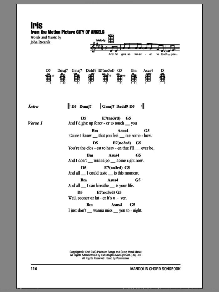 Iris sheet music for mandolin (chords only) by Goo Goo Dolls and John Rzeznik, intermediate skill level
