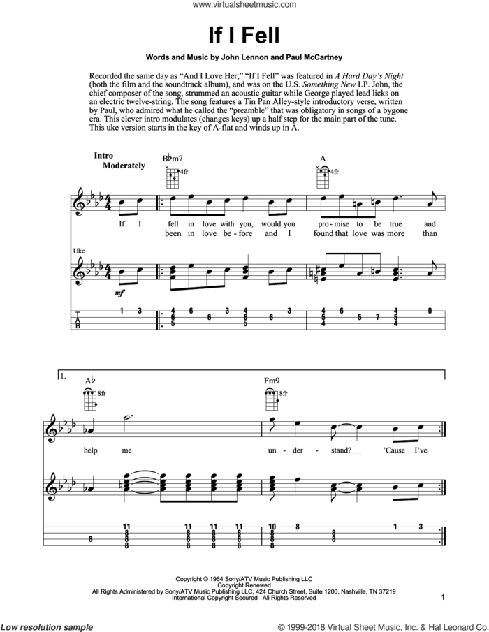 If I Fell sheet music for ukulele (easy tablature) (ukulele easy tab) by The Beatles, Fred Sokolow, John Lennon and Paul McCartney, intermediate skill level