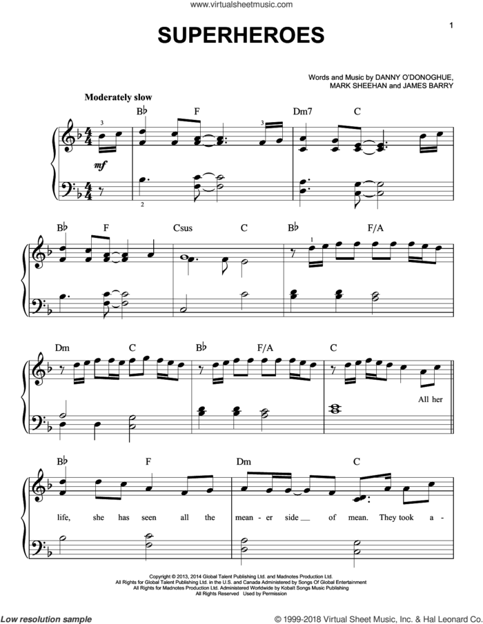 Superheroes sheet music for piano solo by The Script, James Barry and Mark Sheehan, easy skill level