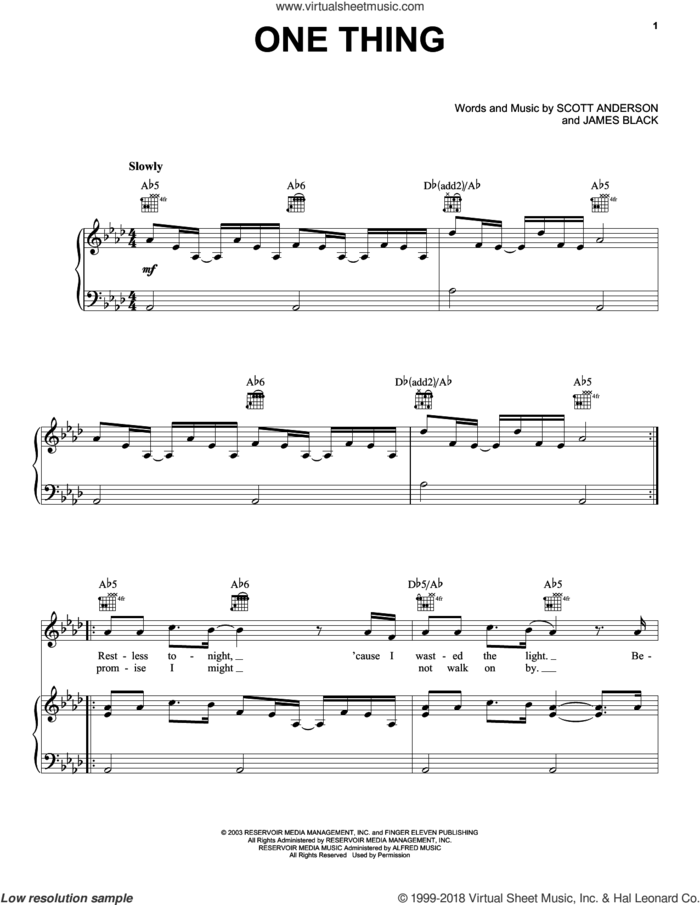 One Thing sheet music for voice, piano or guitar by Finger Eleven, James M. Black and Scott Anderson, intermediate skill level