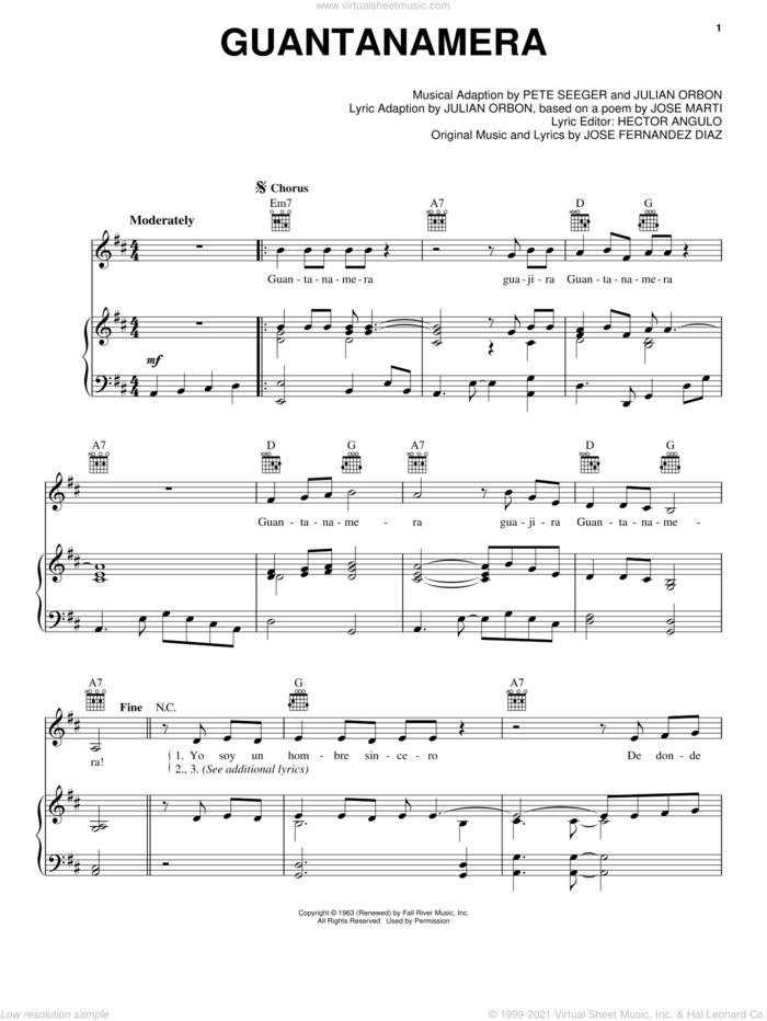 Guantanamera sheet music for voice, piano or guitar by Pete Seeger, Hector Angulo, Jose Fernandez Diaz, Jose Fernandez Diaz and Julian Orbon, intermediate skill level
