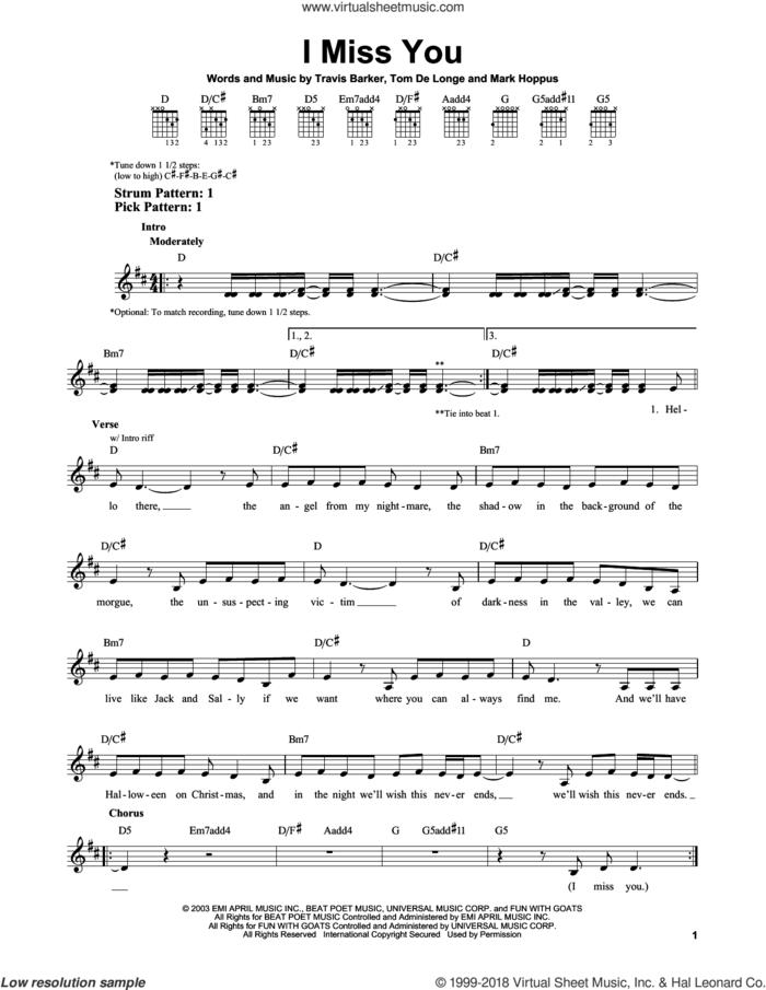 I Miss You sheet music for guitar solo (chords) by Blink-182, Mark Hoppus, Tom DeLonge and Travis Barker, easy guitar (chords)