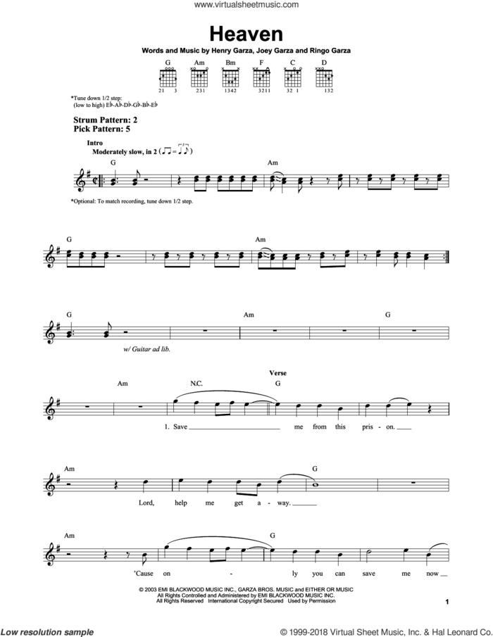 Heaven sheet music for guitar solo (chords) by Los Lonely Boys, Henry Garza, Joey Garza and Ringo Garza, easy guitar (chords)