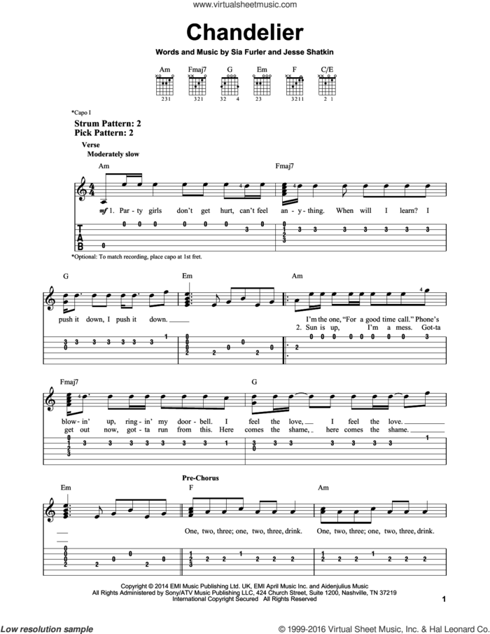 Chandelier sheet music for guitar solo (easy tablature) by Sia, Jesse Shatkin and Sia Furler, easy guitar (easy tablature)