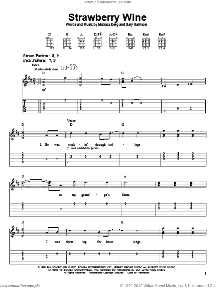 Strawberry Wine sheet music for guitar solo (easy tablature) by Deana Carter, Gary Harrison and Matraca Berg, easy guitar (easy tablature)