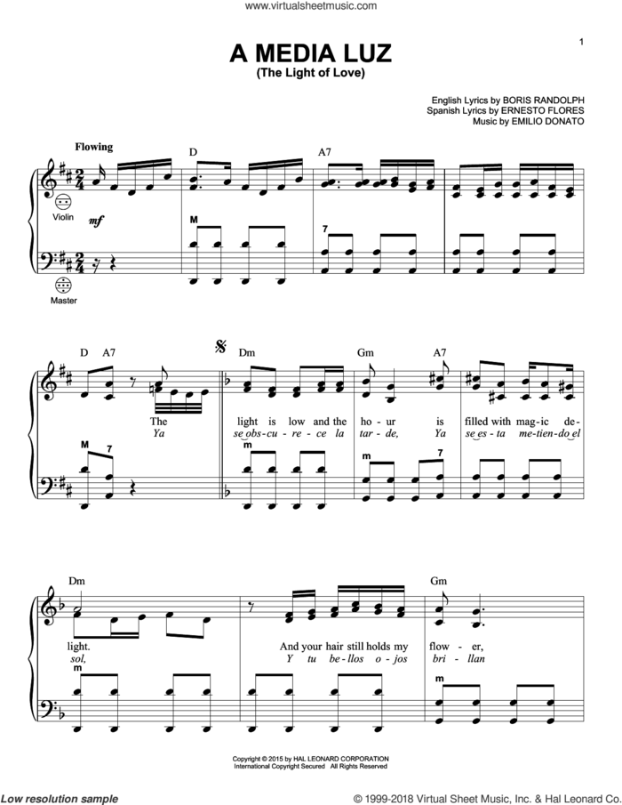A Media Luz (The Light Of Love) sheet music for accordion by Emilio Donato and Gary Meisner, intermediate skill level