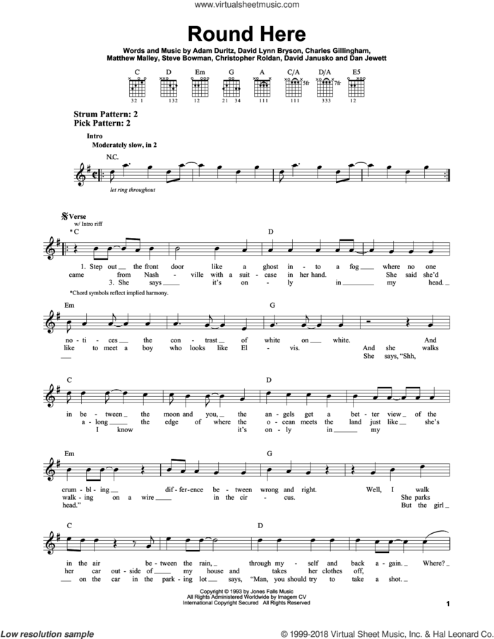 Round Here sheet music for guitar solo (chords) by Counting Crows, Adam Duritz, Charles Gillingham, Christopher Roldan, Dan Jewett, David Janusko, David Lynn Bryson, Matthew Malley and Steve Bowman, easy guitar (chords)
