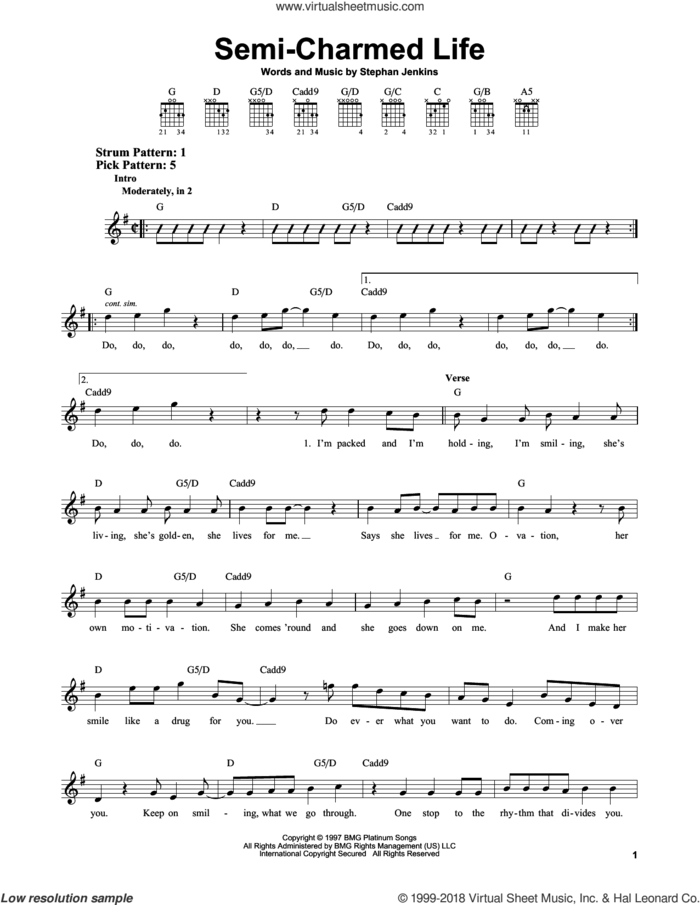 Semi-Charmed Life sheet music for guitar solo (chords) by Third Eye Blind and Stephan Jenkins, easy guitar (chords)