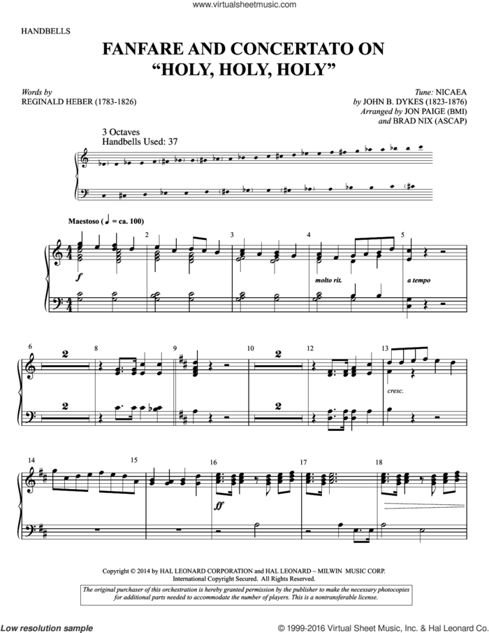 Holy, Holy, Holy sheet music for percussions by John Bacchus Dykes, Brad Nix, Jon Paige and Reginald Heber, intermediate skill level