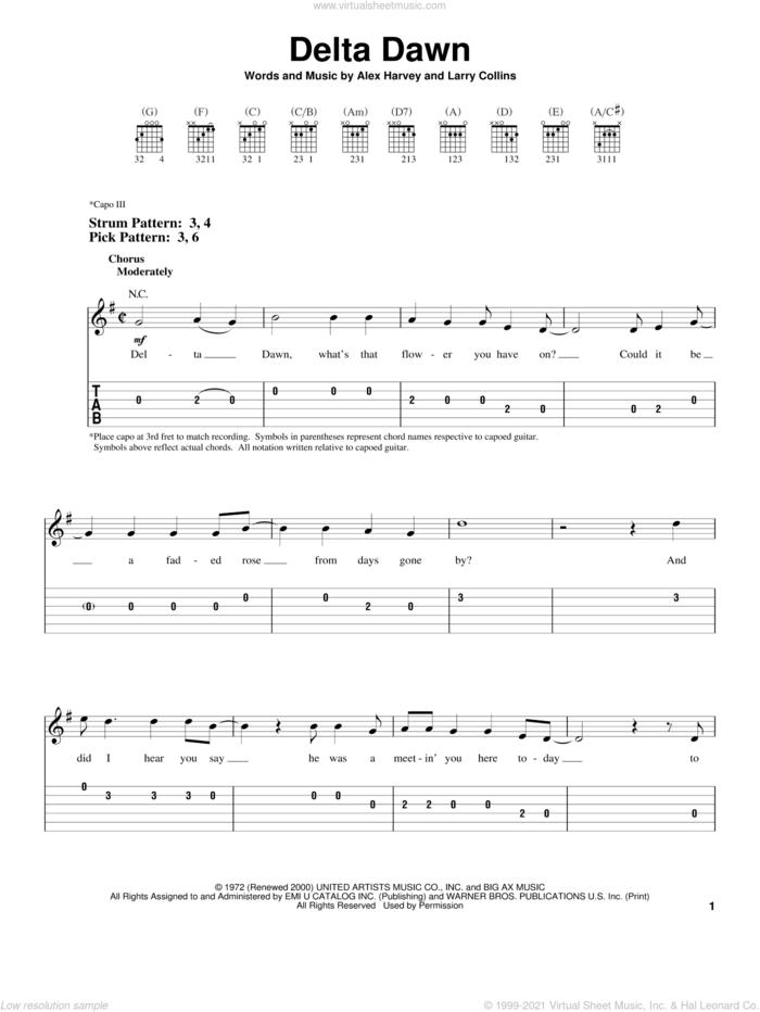 Delta Dawn sheet music for guitar solo (easy tablature) by Tanya Tucker, Helen Reddy, Alex Harvey and Larry Collins, easy guitar (easy tablature)
