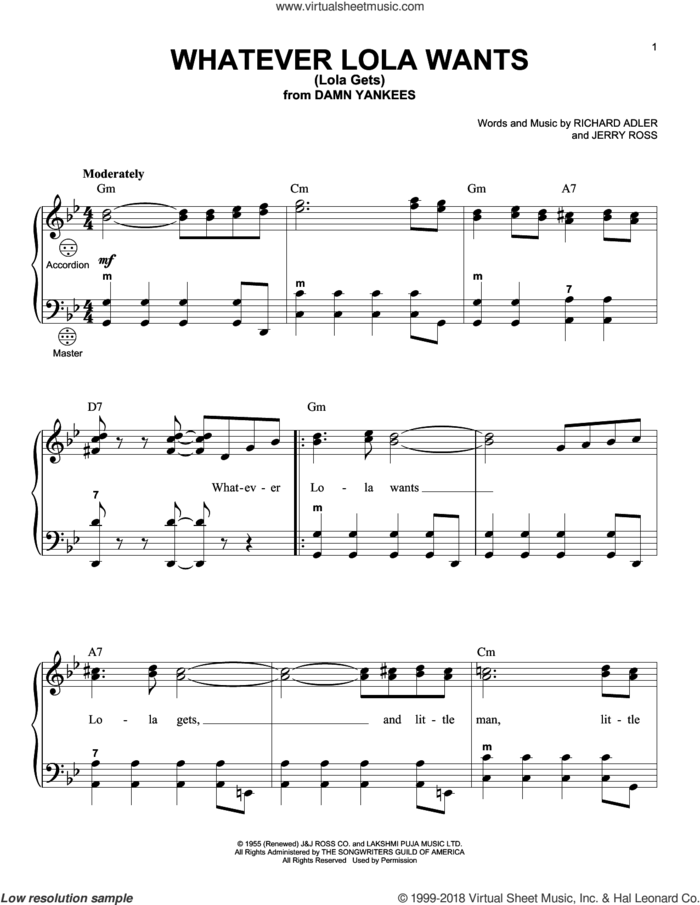 Whatever Lola Wants (Lola Gets) sheet music for accordion by Richard Adler, Gary Meisner and Jerry Ross, intermediate skill level