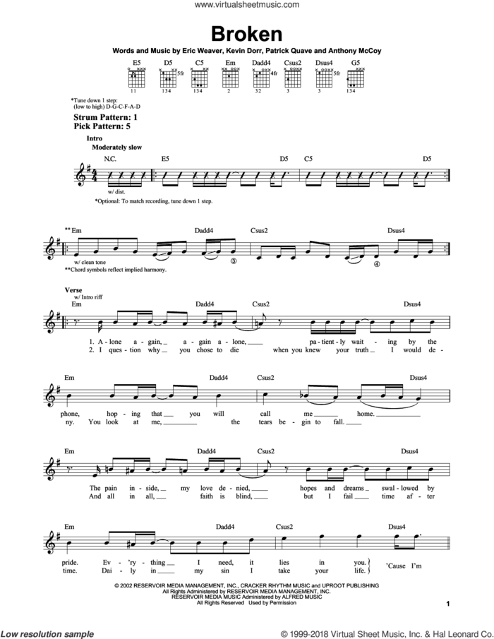 Broken sheet music for guitar solo (chords) by 12 Stones, Anthony McCoy, Eric Weaver, Kevin Dorr and Patrick Quave, easy guitar (chords)