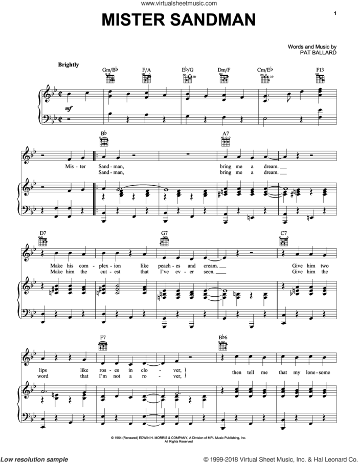 Mister Sandman sheet music for voice, piano or guitar by The Chordettes and Pat Ballard, intermediate skill level