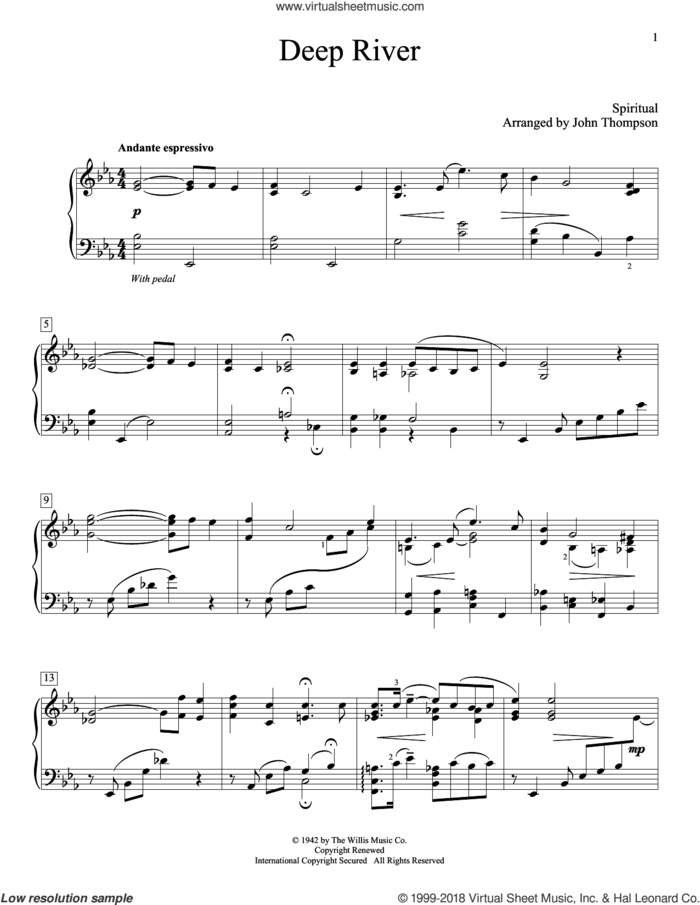 Deep River sheet music for piano solo (elementary) by John Thompson, beginner piano (elementary)