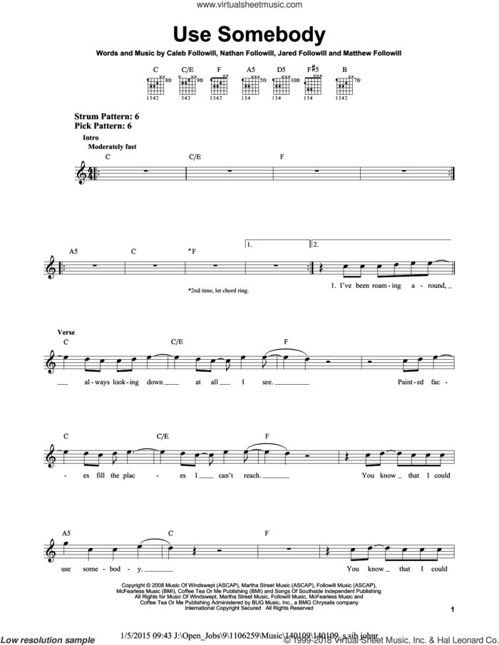 Use Somebody sheet music for guitar solo (chords) by Kings Of Leon, Caleb Followill, Jared Followill, Matthew Followill and Nathan Followill, easy guitar (chords)