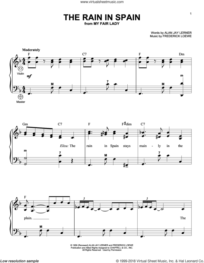 The Rain In Spain sheet music for accordion by Alan Jay Lerner, Gary Meisner and Frederick Loewe, intermediate skill level