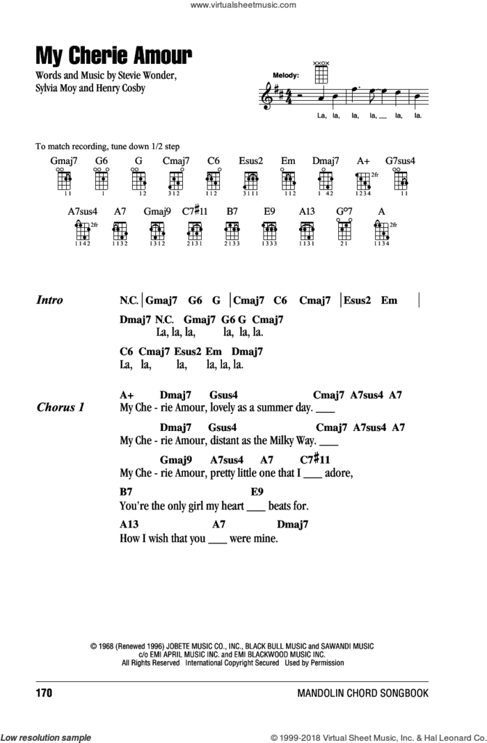 My Cherie Amour sheet music for mandolin (chords only) by Stevie Wonder, Henry Cosby and Sylvia Moy, intermediate skill level