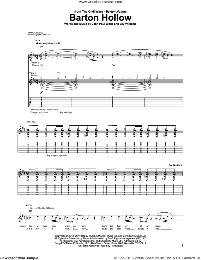 Barton Hollow sheet music for guitar (tablature) by The Civil Wars, John Paul White and Joy Williams, intermediate skill level