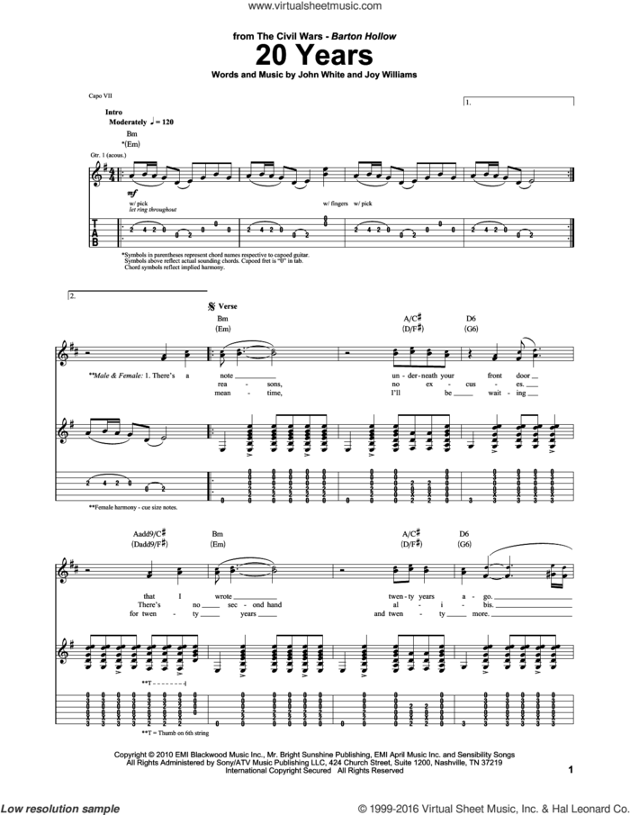 20 Years sheet music for guitar (tablature) by The Civil Wars, John White and Joy Williams, intermediate skill level