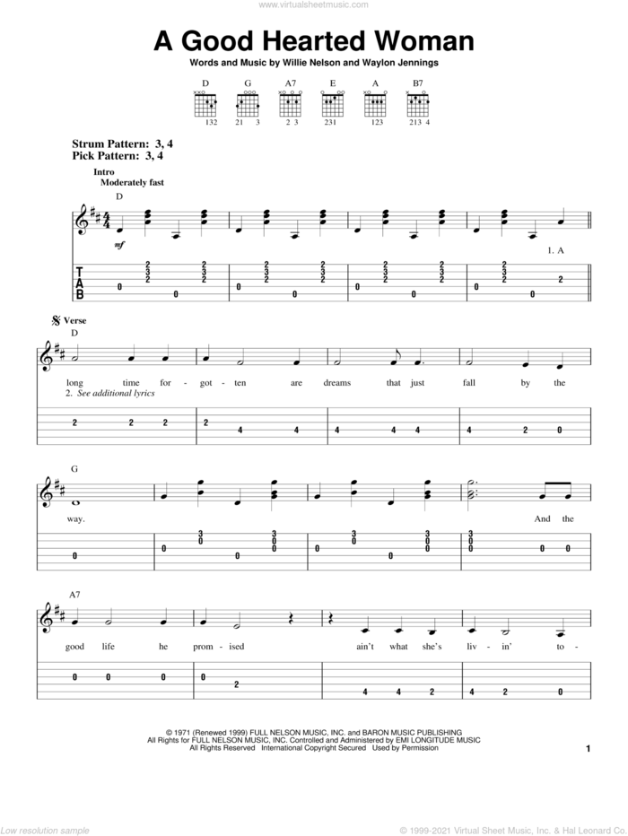 A Good Hearted Woman sheet music for guitar solo (easy tablature) by Willie Nelson and Waylon Jennings, easy guitar (easy tablature)