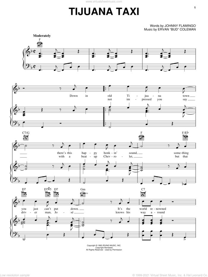 Tijuana Taxi sheet music for voice, piano or guitar by Herb Alpert & The Tijuana Brass, Ervan 'Bud' Coleman and Johnny Flamingo, intermediate skill level