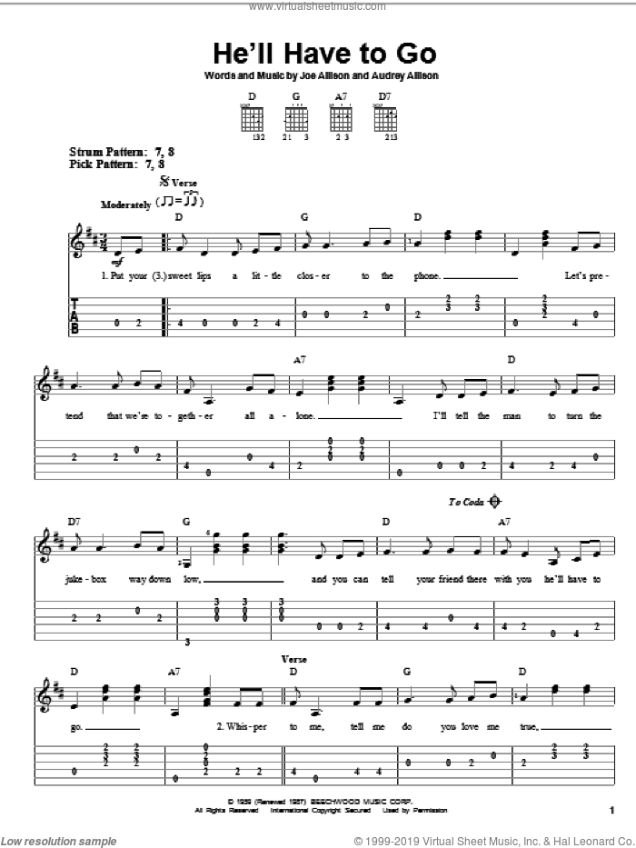 He'll Have To Go sheet music for guitar solo (easy tablature) by Jim Reeves, Audrey Allison and Joe Allison, easy guitar (easy tablature)