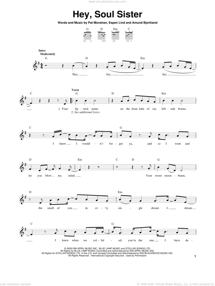 Hey, Soul Sister, (easy) sheet music for guitar solo (chords) by Train, Amund Bjorklund, Espen Lind and Pat Monahan, easy guitar (chords)