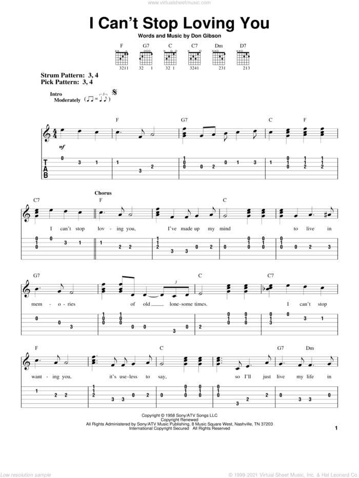 I Can't Stop Loving You sheet music for guitar solo (easy tablature) by Don Gibson, easy guitar (easy tablature)