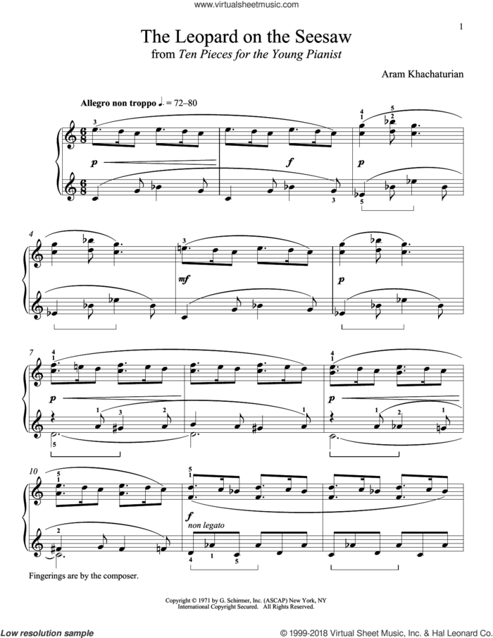 The Leopard On The Seesaw sheet music for piano solo by Aram Khachaturian and Richard Walters, classical score, intermediate skill level