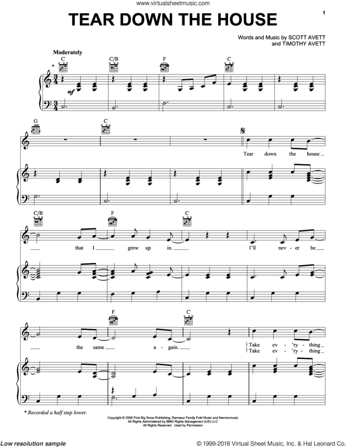 Tear Down The House sheet music for voice, piano or guitar by The Avett Brothers, Avett Brothers, Scott Avett and Timothy Avett, intermediate skill level