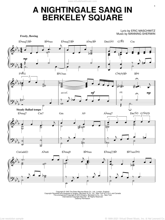 A Nightingale Sang In Berkeley Square [Jazz version] (arr. Brent Edstrom) sheet music for piano solo by Manhattan Transfer, Eric Maschwitz and Manning Sherwin, intermediate skill level