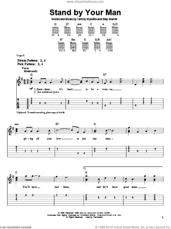 Stand By Your Man sheet music for guitar solo (easy tablature) by Tammy Wynette, Lynn Anderson and Billy Sherrill, easy guitar (easy tablature)