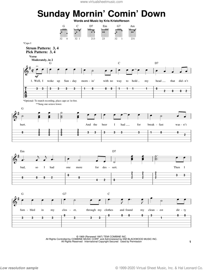 Sunday Mornin' Comin' Down sheet music for guitar solo (easy tablature) by Kris Kristofferson and Johnny Cash, easy guitar (easy tablature)