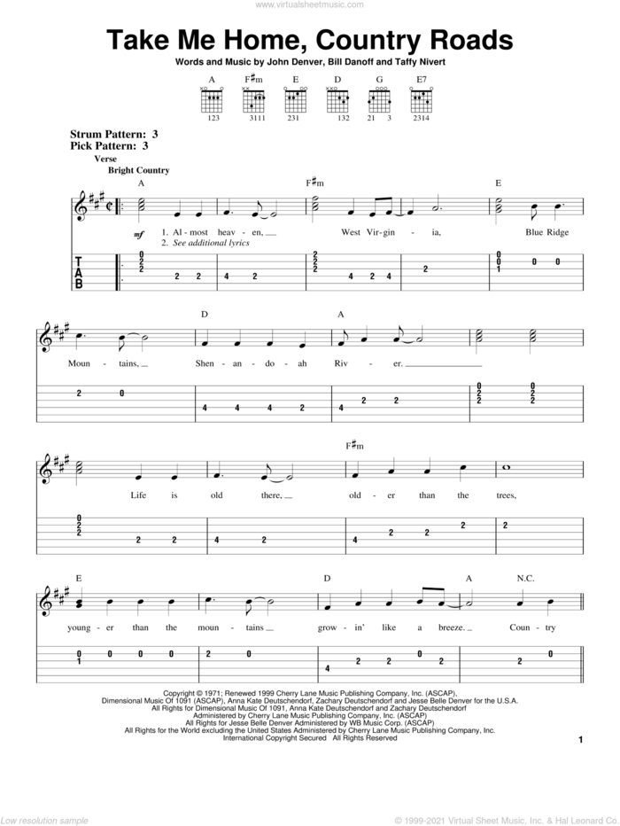 Take Me Home, Country Roads sheet music for guitar solo (easy tablature) by John Denver, Bill Danoff and Taffy Nivert, easy guitar (easy tablature)