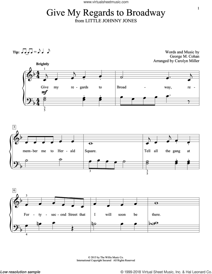 Give My Regards To Broadway sheet music for piano solo (elementary) by George M. Cohan, Carolyn Miller, John Thompson and George Cohan, beginner piano (elementary)