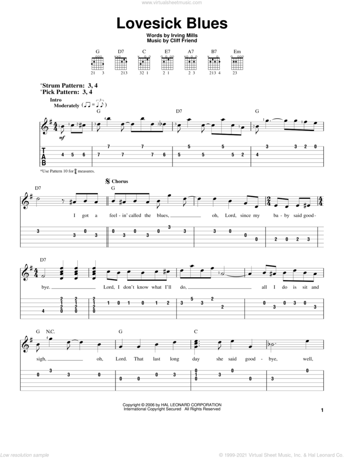 Lovesick Blues sheet music for guitar solo (easy tablature) by Hank Williams, Patsy Cline, Cliff Friend and Irving Mills, easy guitar (easy tablature)