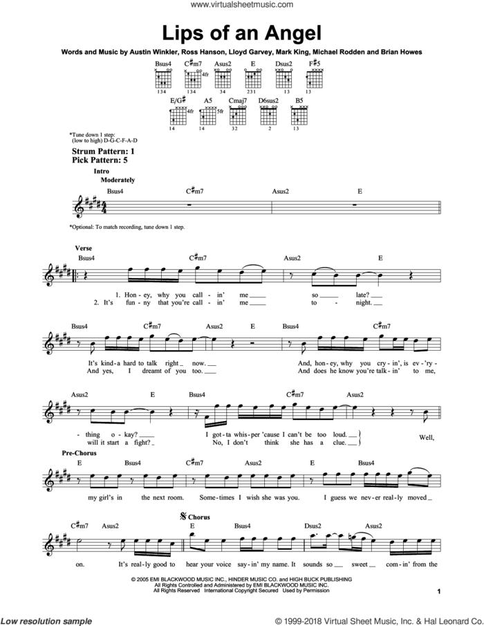Lips Of An Angel sheet music for guitar solo (chords) by Hinder, Jack Ingram, Austin Winkler, Brian Howes, Lloyd Garvey, Mark King, Michael Rodden and Ross Hanson, easy guitar (chords)