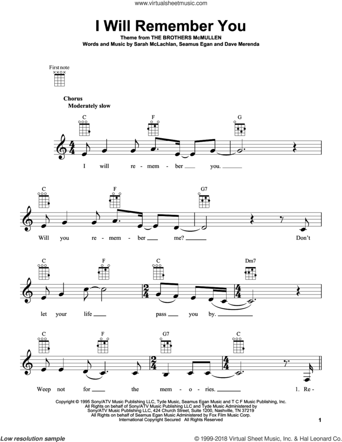 I Will Remember You sheet music for ukulele by Sarah McLachlan, Dave Merenda and Seamus Egan, intermediate skill level