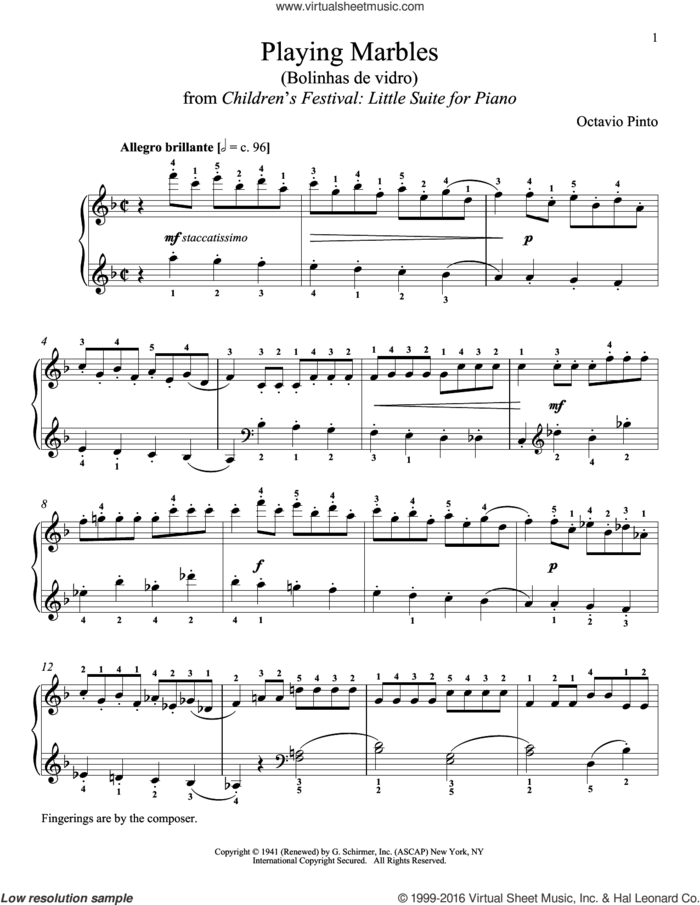 Playing Marbles sheet music for piano solo by Octavio Pinto and Richard Walters, classical score, intermediate skill level