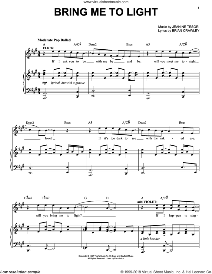 Bring Me To Light sheet music for voice and piano by Jeanine Tesori and Brian Crawley, intermediate skill level