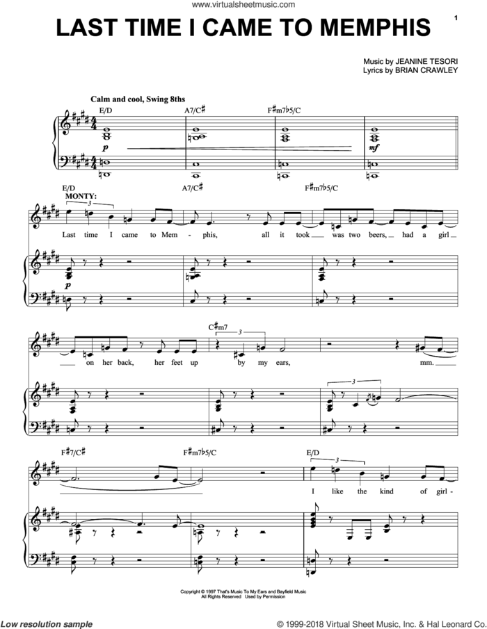 Last Time I Came To Memphis sheet music for voice and piano by Jeanine Tesori and Brian Crawley, intermediate skill level