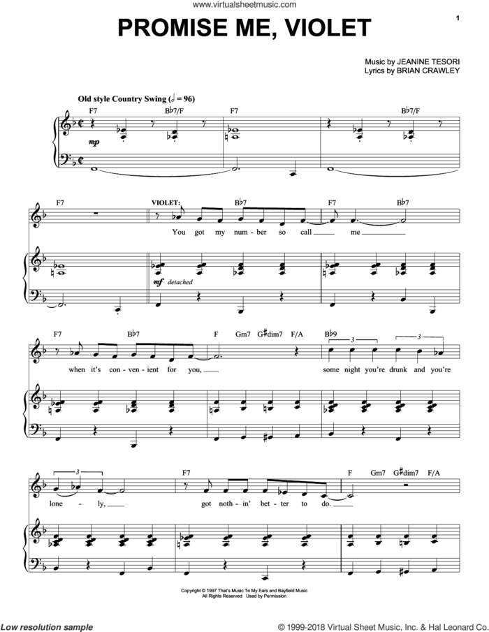 Promise Me, Violet sheet music for voice and piano by Jeanine Tesori and Brian Crawley, intermediate skill level