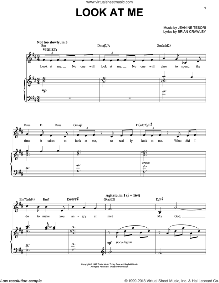 Look At Me sheet music for voice and piano by Jeanine Tesori and Brian Crawley, intermediate skill level