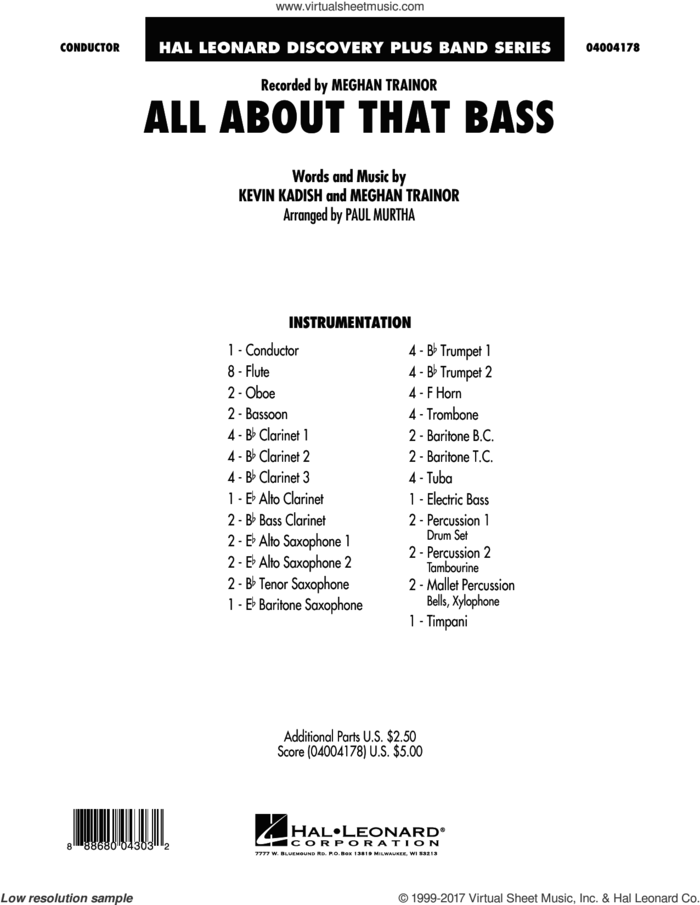All About That Bass (COMPLETE) sheet music for concert band by Paul Murtha, Kevin Kadish and Meghan Trainor, intermediate skill level