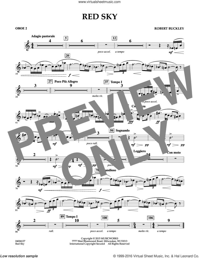 Red Sky (Digital Only) sheet music for concert band (oboe 2) by Robert Buckley, intermediate skill level