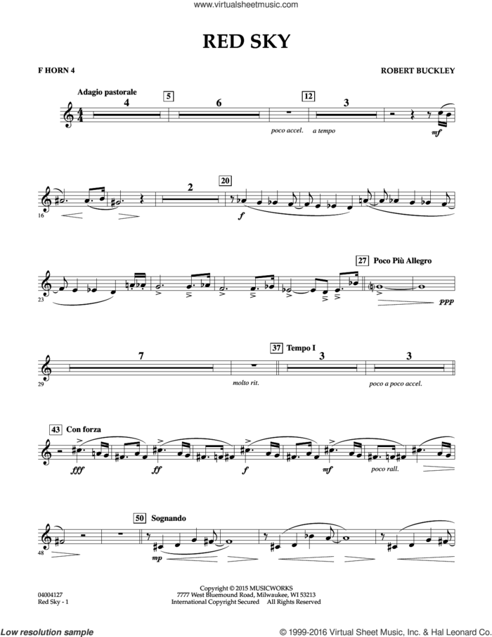 Red Sky (Digital Only) sheet music for concert band (f horn 4) by Robert Buckley, intermediate skill level
