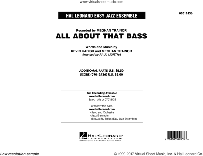 All About That Bass (COMPLETE) sheet music for jazz band by Paul Murtha, Kevin Kadish and Meghan Trainor, intermediate skill level