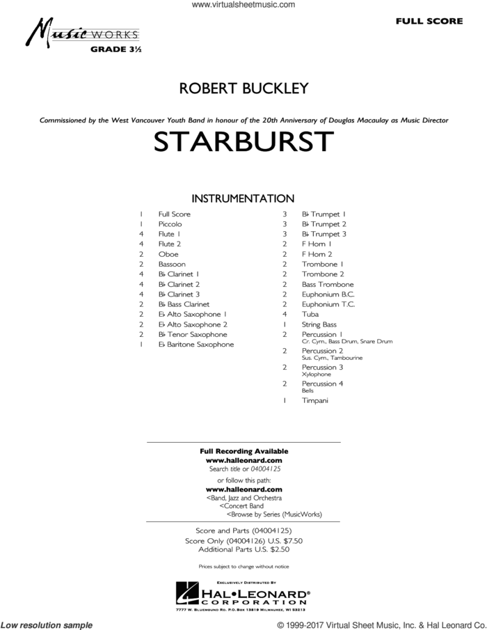 Starburst (COMPLETE) sheet music for concert band by Robert Buckley, intermediate skill level